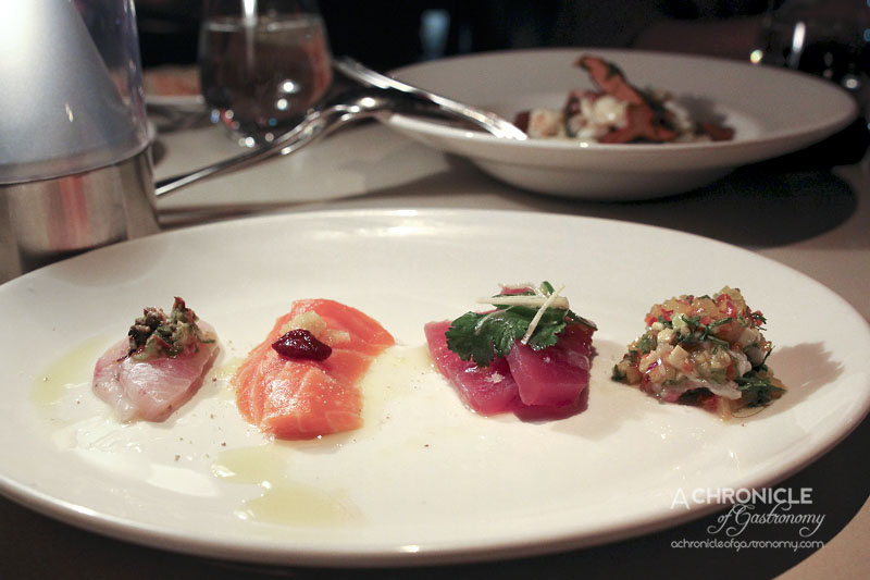 Rockpool Bar & Grill - Four Raw Tastes of The Sea - Kingfish w Cos & Tea Smoked Oyster Dressing, Ocean Trout w Harissa & Preserved Lemon, Tuna w Coriander & Ginger, Scampi Ceviche