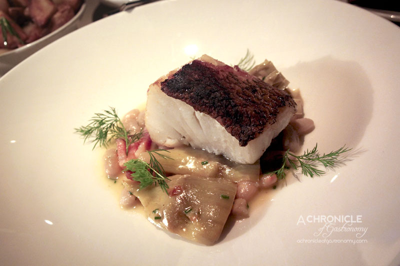 Rockpool Bar & Grill - Grilled Glacier 51 Toothfish with   Globe Artichoke, White Beans and Speck ($52)