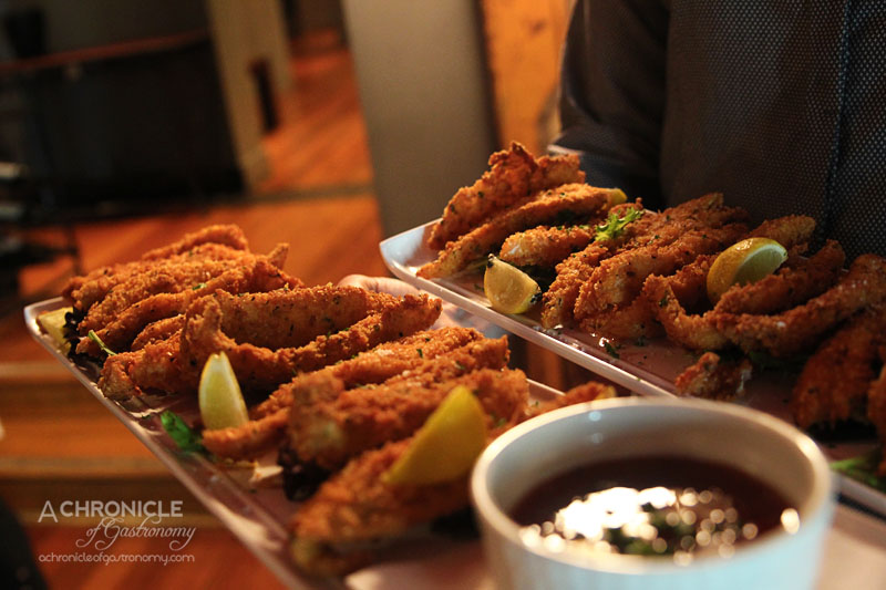 Rubira's Oyster Night - Crumbed Fish with Sweet Chilli Sauce