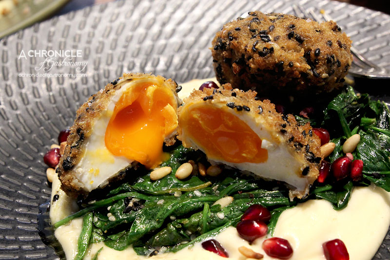 Scarvelli Cafe - Dukkah Eggs + Sourdough - Crumbed Poached Eggs, Cauliflower Puree, Pinenuts, Spiced Spinach, Pomegranate ($17.50+3)