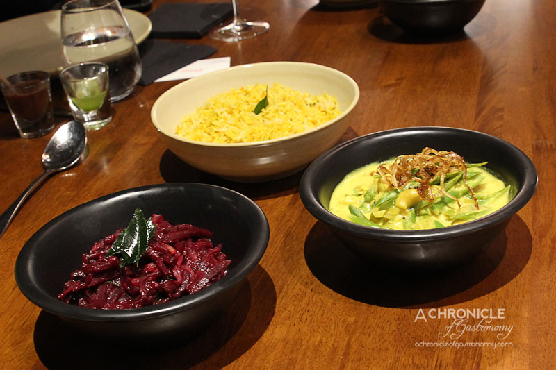 Araliya - Green Beans with Cashew Nuts ($14), Beetroot and Turnip with Curry Leaves ($14), Saffron Rice