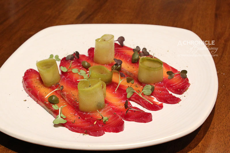 Araliya - Beetroot Cured Salmon - Sichuan Pickled Cucumber, Capers