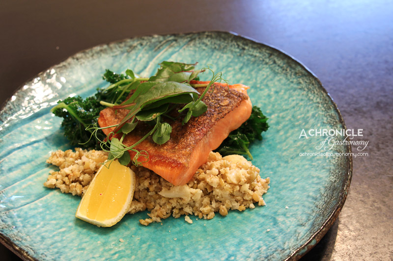 Ascot Food Store - Apple Wood Smoked Ocean Trout, Freekeh, Roasted Cauliflower, Cress, Shredded Kale ($20)