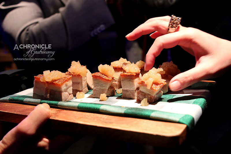 Munich Brauhaus 1st Birthday Boat Party - Pork Belly Bites - Crackling, Apple Compote