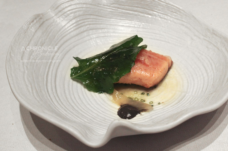 Woodland House - Rainbow Trout, Cuttlefish, Ink Dressing, Brassica