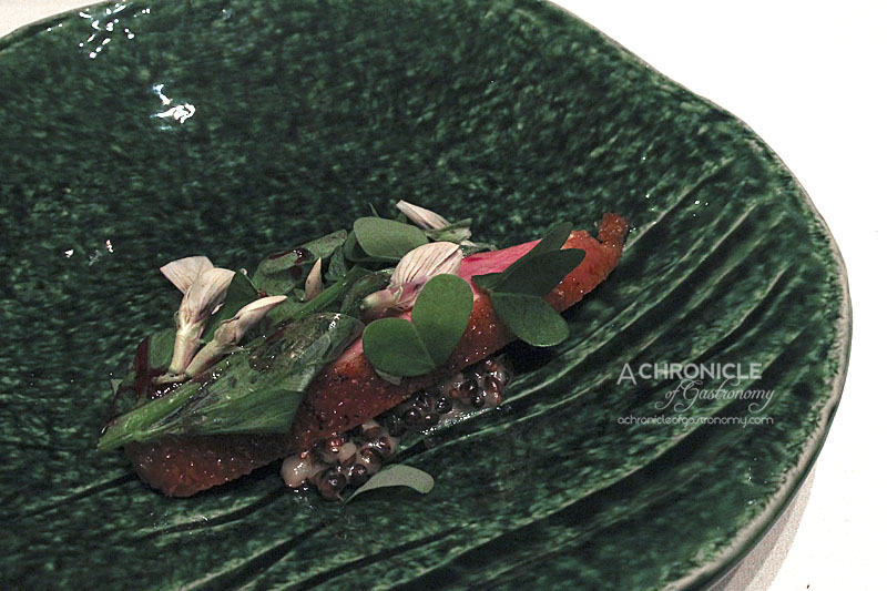 Woodland House - Corn Fed Hay-Aged Duck with Spinach, Black Barley, Broad Bean, Beetroot and Tamarind