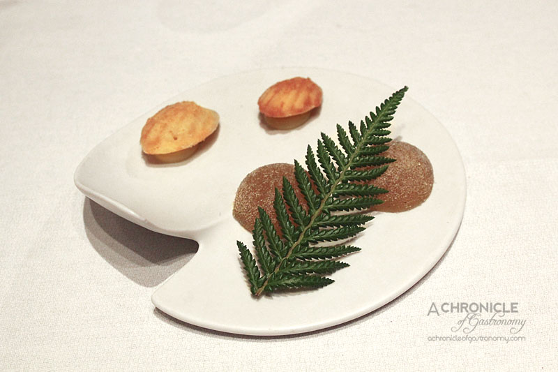 Woodland House - Pine Needle and Yuzu Jelly, Madelines with Lemon Curd