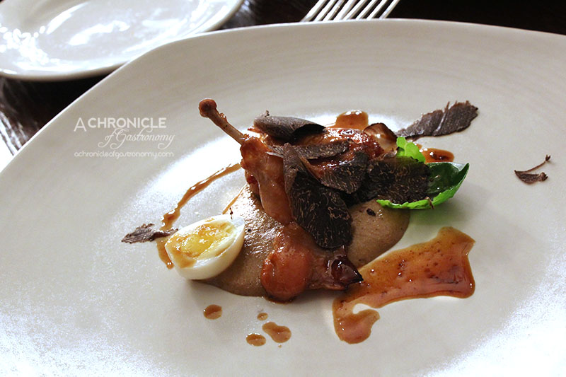 Grand Hotel - Agrodolce Quail with Porcini Mushroom Puree, Brussel Sprouts, Quail Egg and Black Truffles