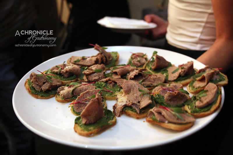 Grand Hotel - Poached Veal Tongue Crostini with Salsa Verde