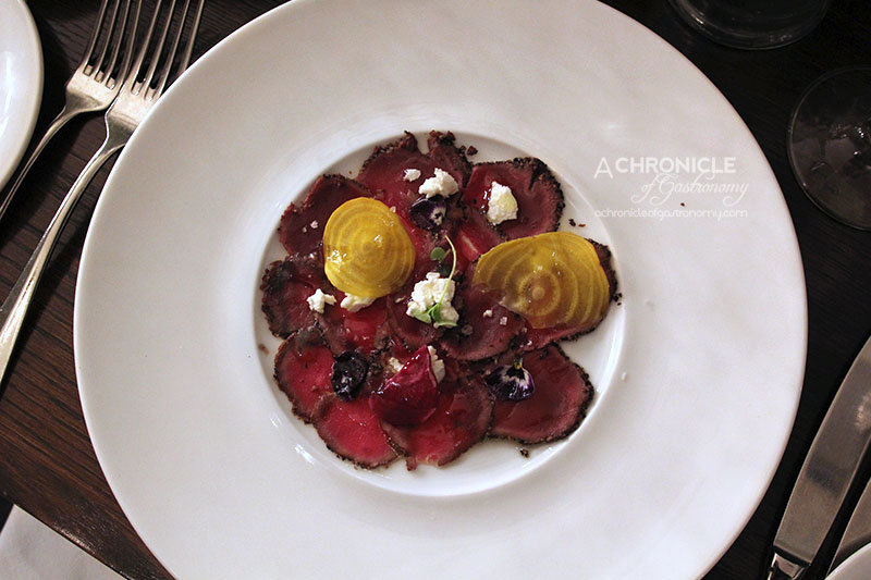 Grand Hotel - Pepper Crusted Venison Carpaccio, Goat Cheese Mousse and Beetroot