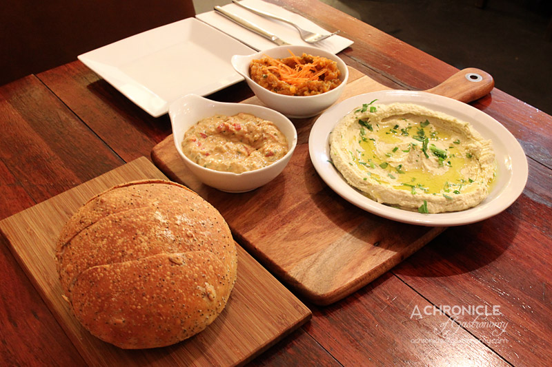 Dip In Cafe - Hummus, Grilled Eggplant and Moroccan Carrot Dips with Bread ($13 + 5.90)