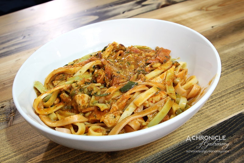 Old Mates Pizza and Pasta - House Special With Fettucine - Chicken, Bacon, Spring Onion, Pesto, Pine Nuts, Cream, Napoli Sauce ($11.90)