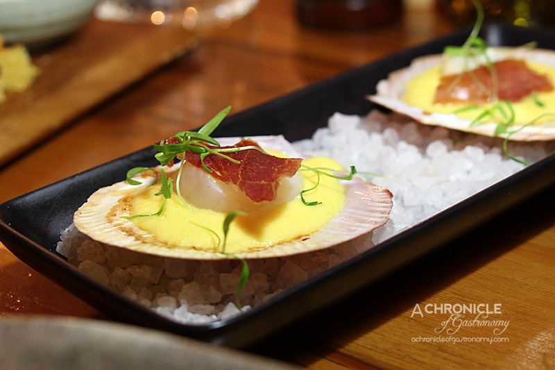 The Post - Grilled Hervey Bay Scallops with Corn Puree, Crispy Prosciutto and Truffle Oil ($13)