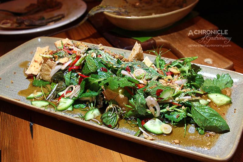 The Post - Crispy Tofu Salad with Thai Basil, Chilli, Kaffir Lime & Lemongrass ($18)