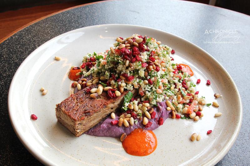 Bawa Cafe - Pressed lamb shoulder, purple cabbage, cauliflower tabbouleh, barberries, pine nuts, harissa ($20)