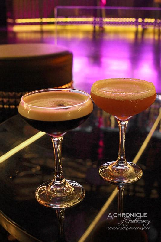 Bond Melbourne - Bond Espresso (Belvedere Vodka, Kahlua, Vanilla Chocolate Monin, Coffee); Amaretto Sour (Amaretto, Lemon Juice, Sugar Syrup, Egg White)