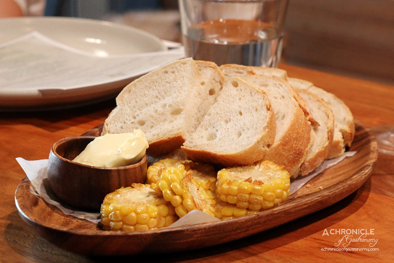 Hunter & Barrel - Sourdough Bread with Cultured Butter, Spicy Fried Corn with Green Chilli Salt