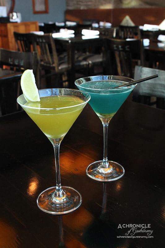 Miyako - Matcha Apple - Green Tea Plum Wine, Vodka, Apple Monin, Lime ($17) and Ocean Jade - Vodka, Frangelico, Chambord, Blue Curacao, Passionfruit Pulp ($19)