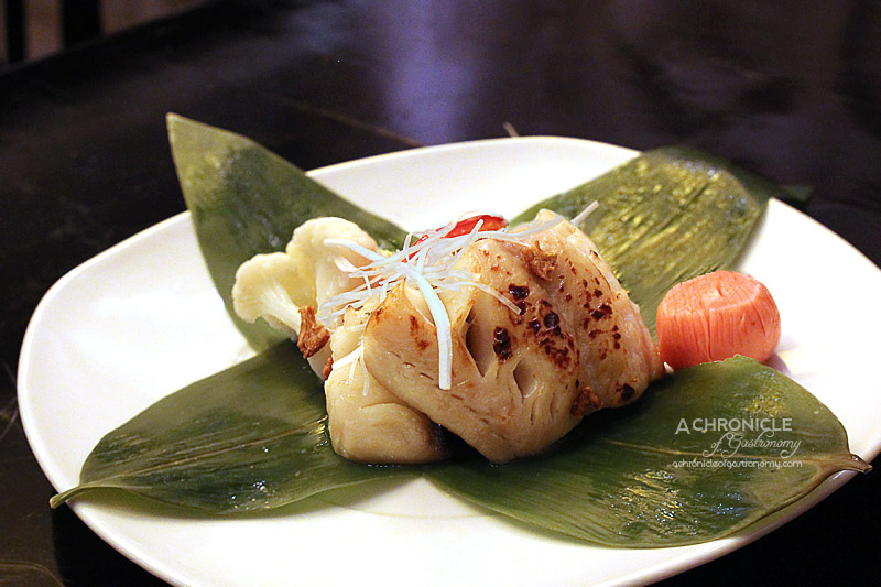 Miyako - Grilled Black Cod - Marinated Black Cod Fillet served with Zucchini, Capsicum, Cauliflower, Pickled Radish in a Bamboo Leaf Pouch ($34.50)