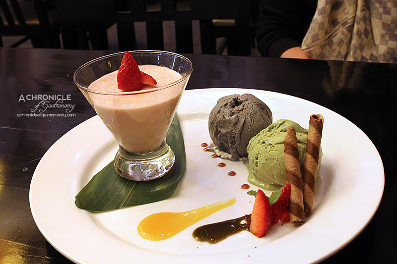 Miyako - Black Sesame and Green Tea Ice Cream, Mango Sauce, House-made Strawberry Mousse