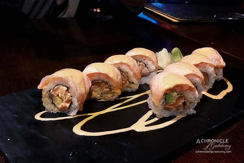 Taketori - Salmon Lovers - Inside Out Salmon Roll with Spicy Mayo and topped with Torched Salmon ($19)