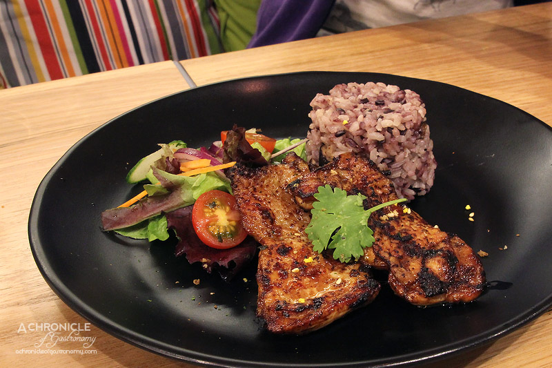 12's Cafe - Mini grilled butterfly chicken fillet braised with house blended sweet soy sauce, served with shiitake mushroom rice and wafu salad