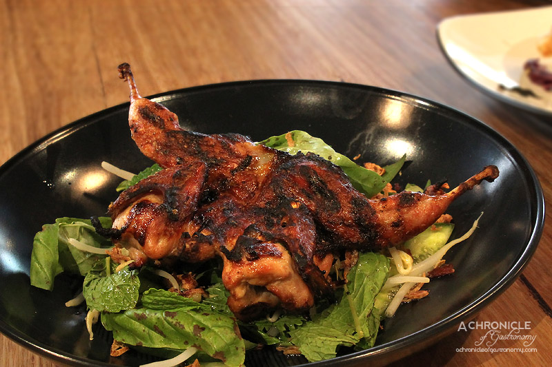 Caffe La Via - Lemon and Mint Quail Salad with Birds-Eye Chilli, Basil, Cucumber, Bean Sprouts and Lemon Wedge ($22)