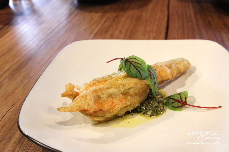 Caffe La Via - Battered Zucchini Flower Stuffed with Ricotta and Served with Mint Sauce ($4.50)