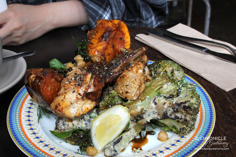 Feast of Merit - Pumpkin, Spiced Kabuli Chickpeas, Winter Greens, Lemon, Honey Tahini Dressing; Charred Broccoli, Mint, Watercress, Pomegranate, Lemon Oil, Hummus; Milawa Chicken, Lemon, Za'atar $18