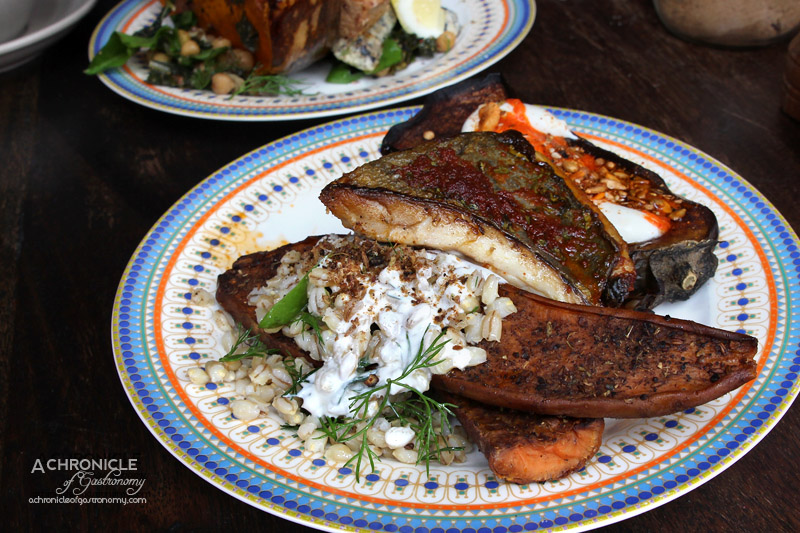 Feast of Merit - Roasted Sweet Potato and Red Onion, Pearl Barley, Garden Herbs, Baharat, Whey Dressing; Roasted Eggplant, Smoked Labneh, Dukkah, Harissa Oil, Coriander, Parsley; BBQ Fish, Tahini, Herbs $18