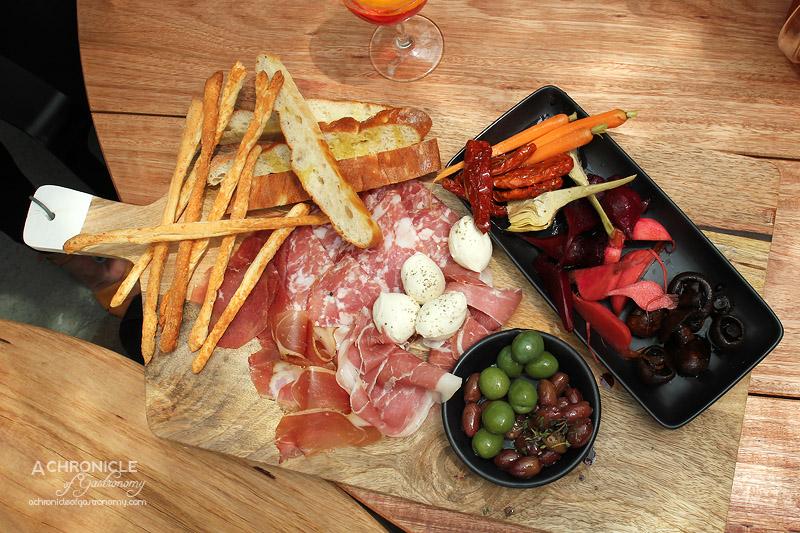 Frankie Says Summer Menu Preview 2015 - Antipasto - Bocconcini, Semi Sundried Tomatoes, Speck Prosciutto, Bresaola, Sopressa Salami, Giardiniera, Marinated Olives, Parmesan Grissini