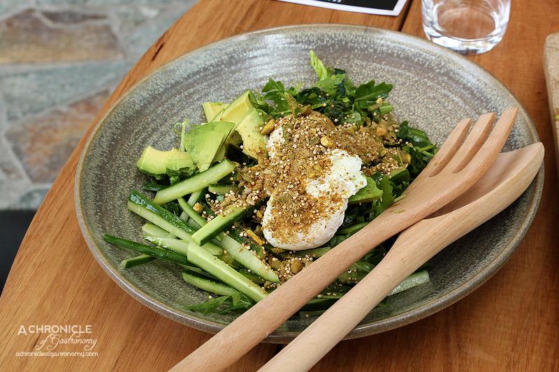 Frankie Says Summer Menu Preview 2015 - Bitter Greens, Avocado, Cucumber, Poached Eggs, Amaranth, Pumpkin Pistachio Dukkah, Mango Lime Dukkah
