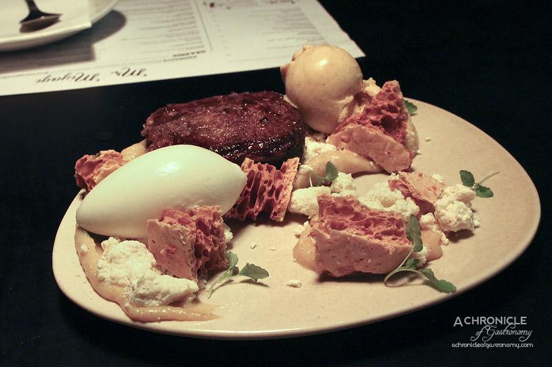 Mr Miyagi - Pumpkin Toast - White Chocolate and Pumpkin Ganache, Honeycomb, Yoghurt Sorbet, Spiced Pumpkin Ice Cream ($16)
