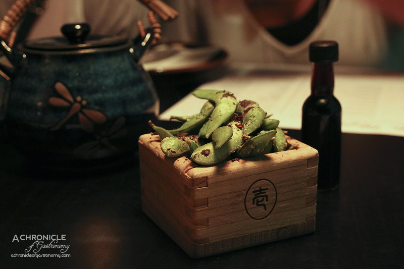 Mr Miyagi - Edamame - Blow Torched Soybeans with Shiso Salt ($5)