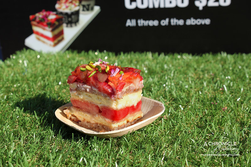 Night Noodle Markets, Birrarung Marr 2015 - Black Star Pastry - Strawberry Watermelon Cake - Almond Dacquoise, Fresh Cream, Watermelon, Strawberries, Pistachios, Rose Petals $10