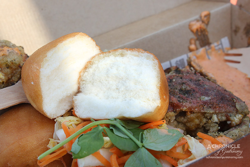 Night Noodle Markets, Birrarung Marr 2015 - Mantou - Soft Shell Crab, Japanese Seven Spice, Rice Wine Pickled Root Veg, Kimchi Mayonnaise $14