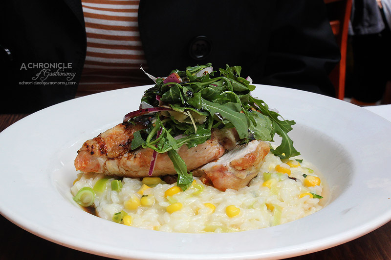 Railway Hotel - Crispy Skin Chicken Breast on Sweetcorn and Leek Risotto, Rocket Salad and Shaved Parmesan Cheese $21