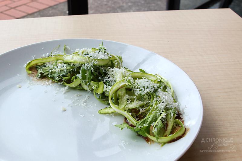 Rochford Restaurant - Shaved Asparagus, Black Garlic, Mizuno, Manchego, White Truffle Vinaigrette $20