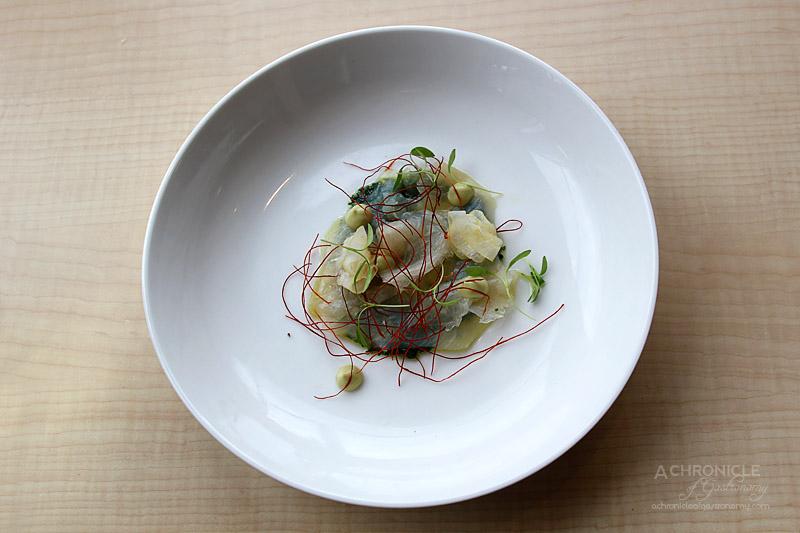 Rochford Restaurant - Cured Kingfish, Avocado, Threaded Chilli, Nettles $22