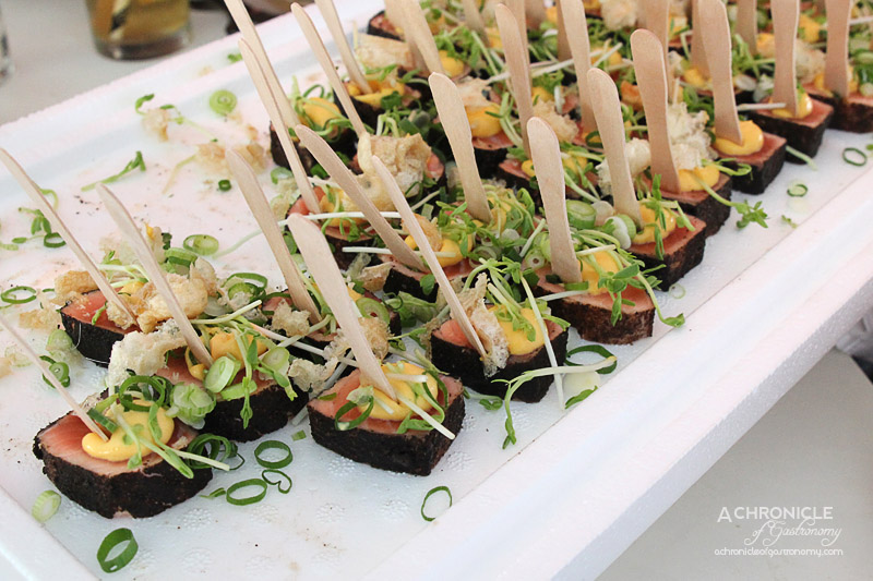 Taste of Melbourne 2015 - Salmon with White Smoked Egg Cream and Spicy Salad