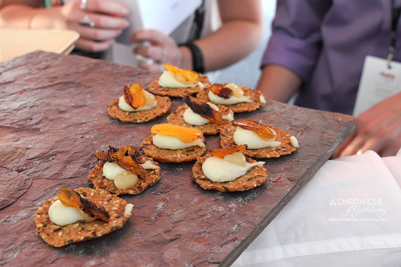 Taste of Melbourne 2015 - Norwegian Cracker with Blue Cheese, Grilled Apricot, Pear Vinegar