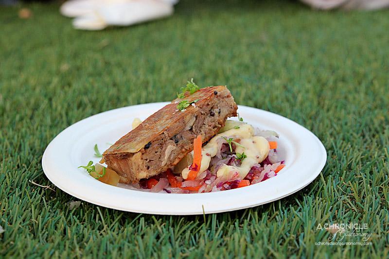 Taste of Melbourne 2015 - Knuckle Sandwich, Mustard Slaw - Pork Knuckle, Mustard Gel, Compressed Coleslaw $10 - Royal Mail Hotel