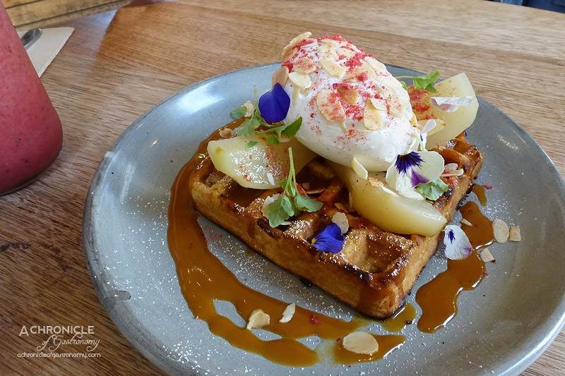 Touchwood - Poached Pear and Salted Caramel Wholemeal Waffles with Whipped Mascarpone, Strawberry Dust and Toasted Almonds $15