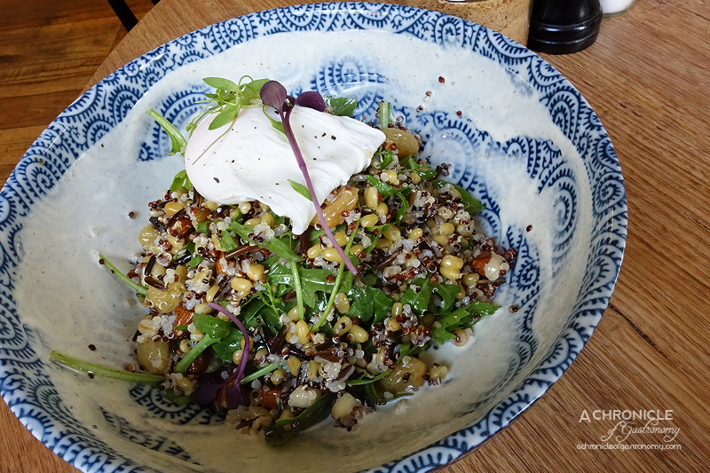 Touchwood - Morning Grain Salad - Quinoa, Freekeh, Wild Rice, Rocket, Toasted Almonds, Chai Soaked Raisins, Cumin Yoghurt, Poached Egg $16