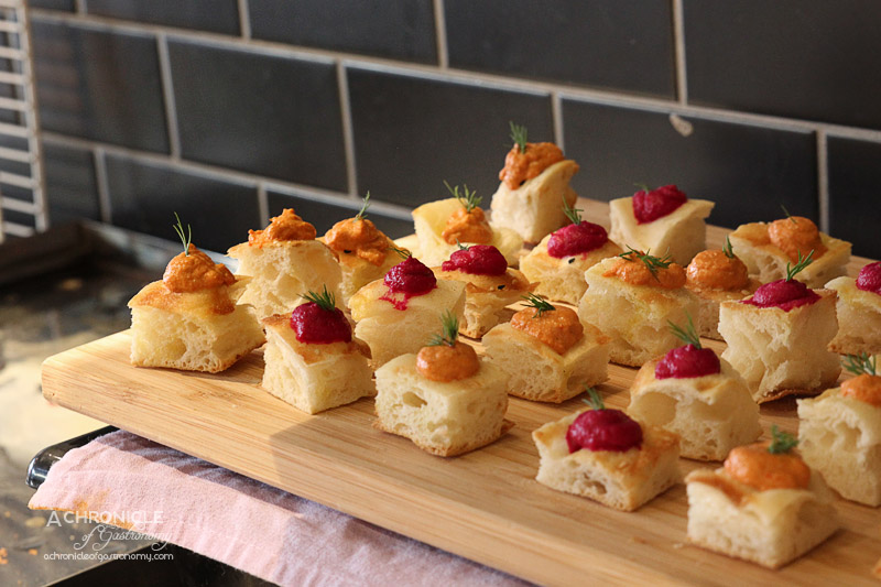Turbine Cafe & Bar - Focaccia with Pumpkin and Beetroot Dip