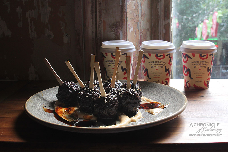 Yelp #Iknowcoffee Launch @ Belleville - Kushiyaki Meatballs - Organic Beef and Pork Meatballs, Jack Cheddar, Miso and Dark Beer Teriyaki