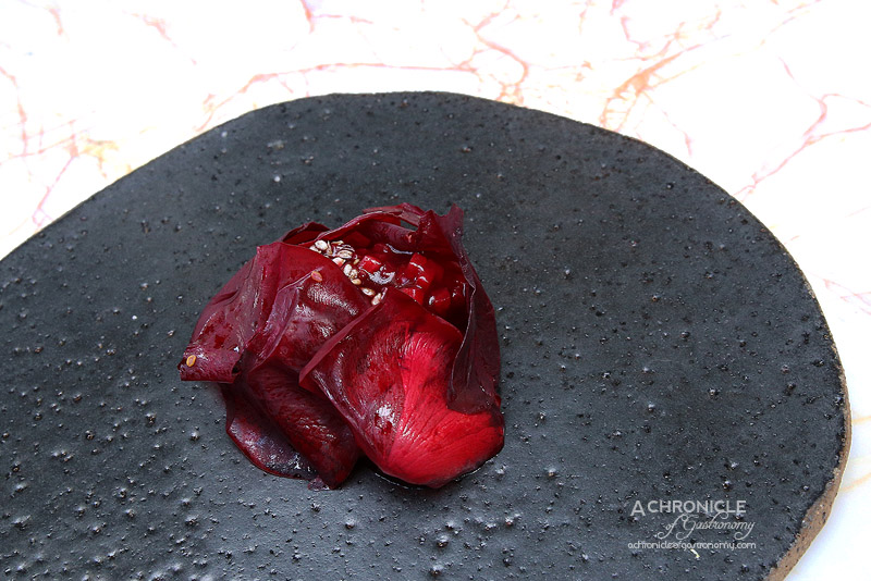 Lume - 6 - Flinders Island Lamb Perfumed with Cherry Wood, Rhubarb, Hibiscus, Rose, Fennel Seeds