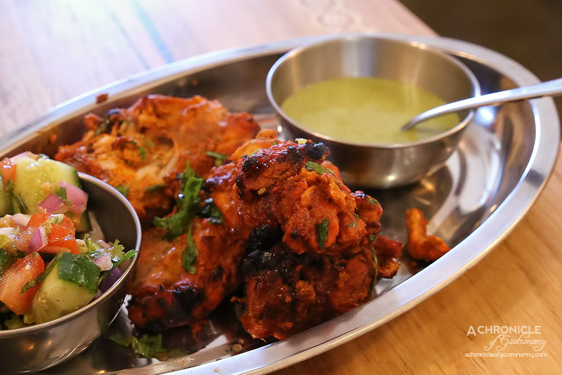 Mukka - Chicken Tikka Marinated in Spices and Yoghurt, Kachumbar Salad - Cucumber, Tomatoes, Red Onion, Beetroot, Coriander ($13.50)