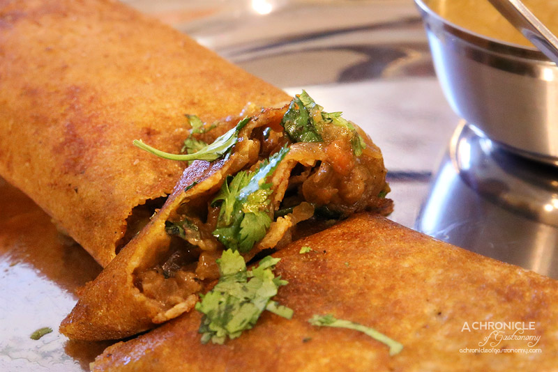Mukka - Eggplant and Pea Dosa with Sambar Dal and Coconut Chutney ($13.50)