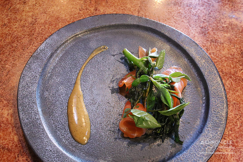 O.My - 3 Day Cured Salmon Pastrami, Varieties of Basil, Blanched Warrigal Greens, Spice Emulsion